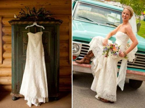 simple ivory lace country wedding dress with strapless neckline