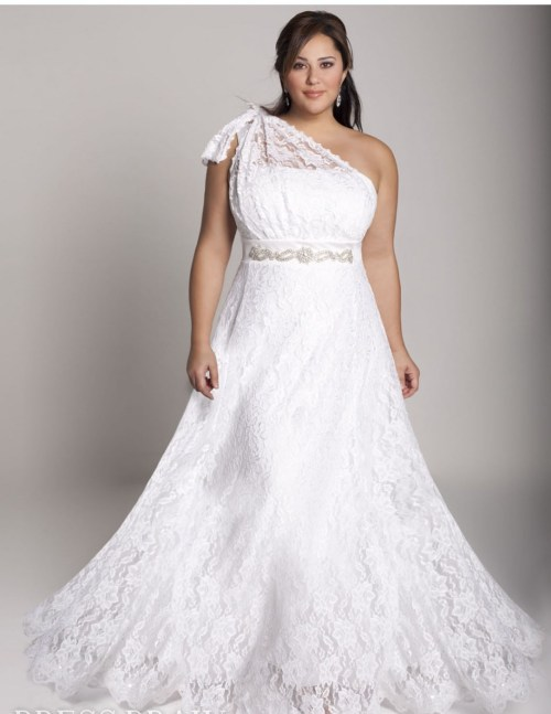 simple plus size wedding dress with one shoulder