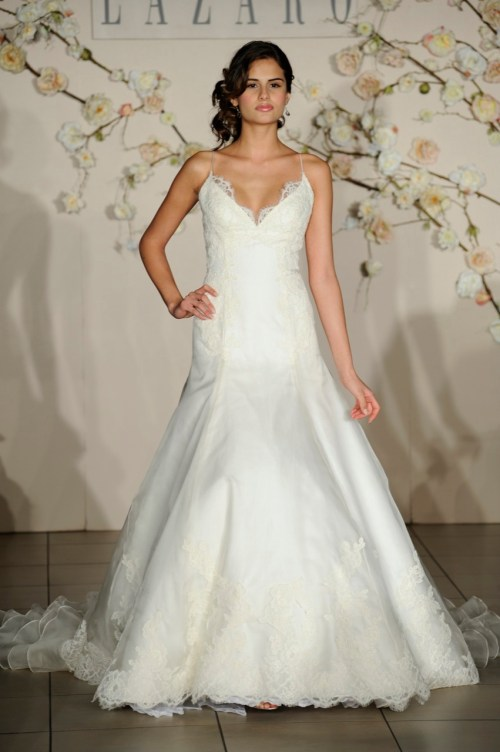 spring wedding dress with v-neckline