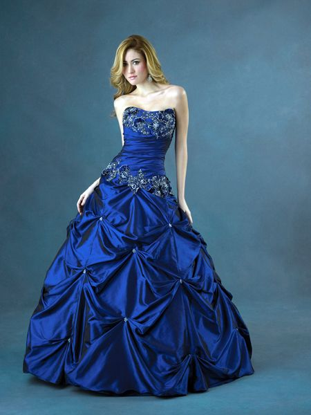 dark blue princess wedding dress