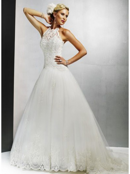 halter organza princess wedding dress with chapel train