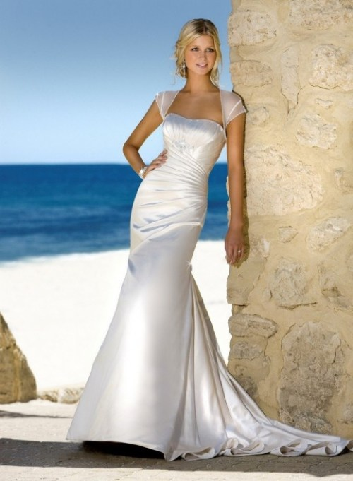 silver colored wedding dress for the beach