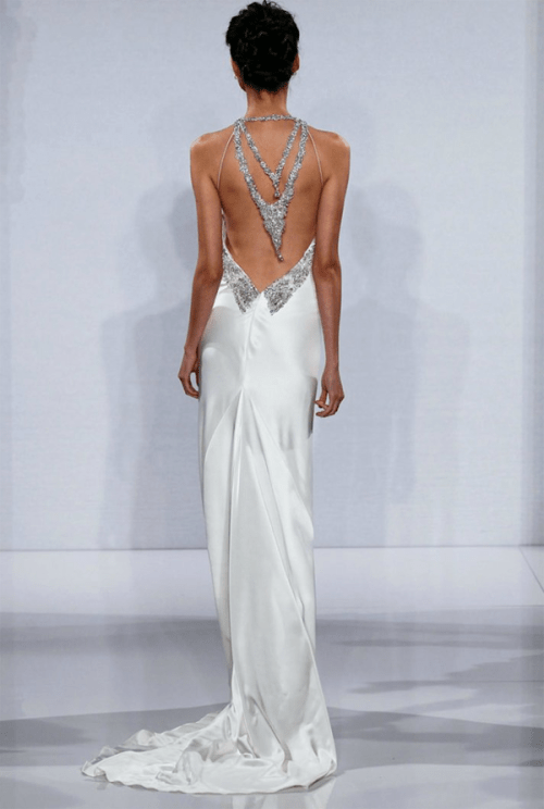 silver wedding dress with a low back