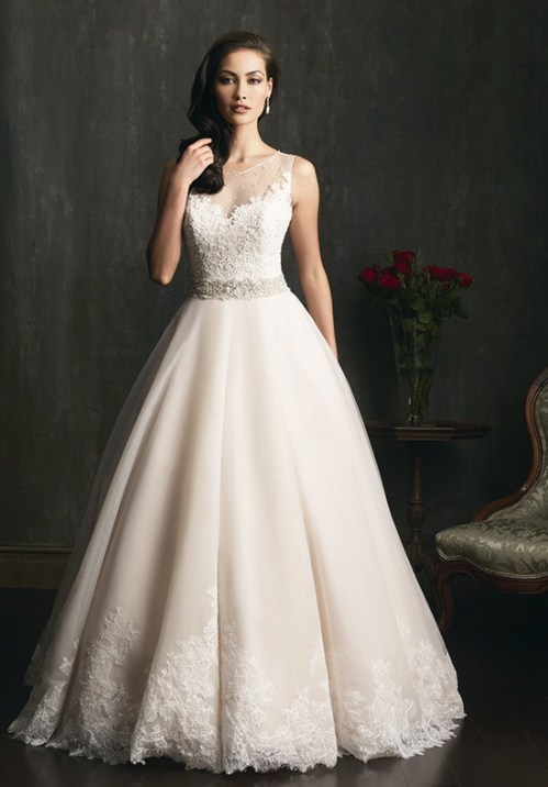 lace ball gown wedding dress with boat neckline