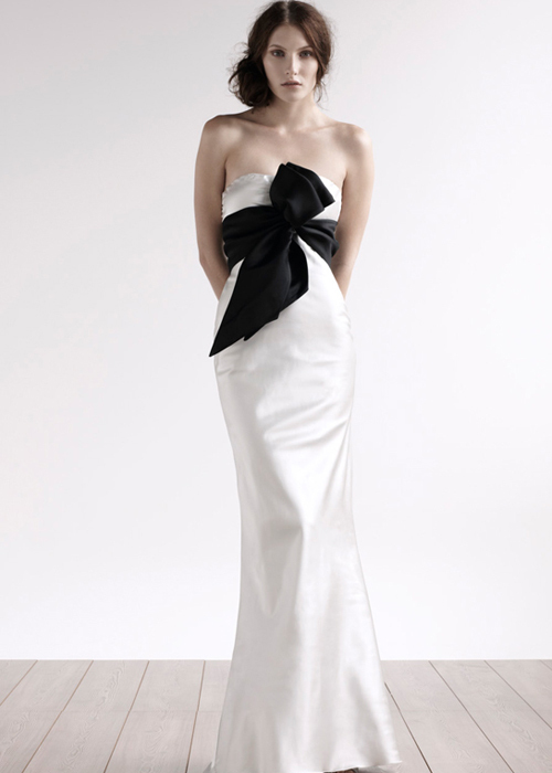 strapless a-line wedding dress with black belt