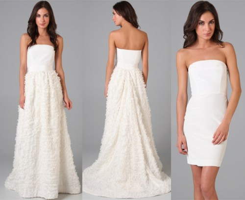 strapless wedding dress with detachable skirt