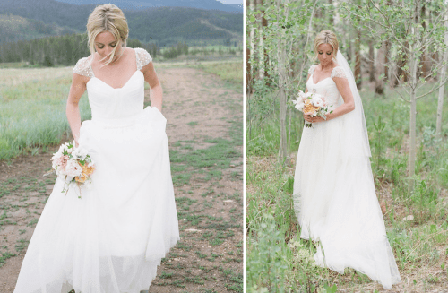 tulle wedding dress with beaded cap sleeves
