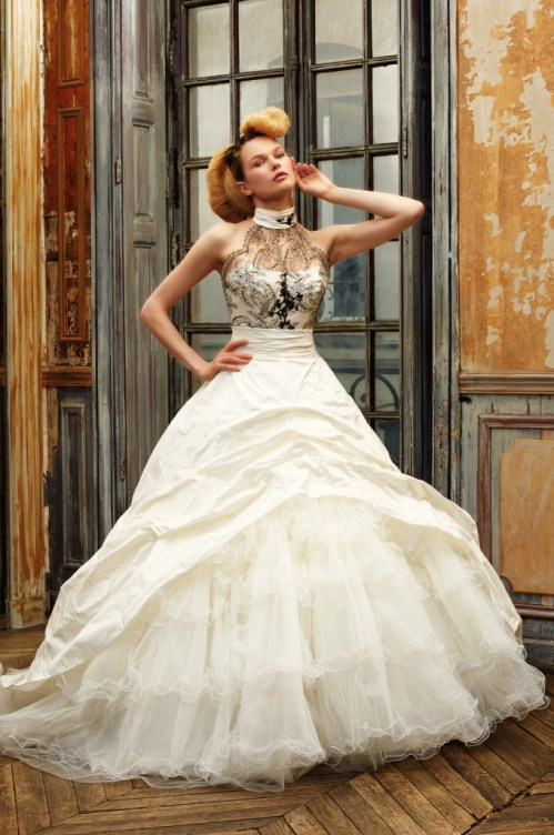vintage ball gown wedding dress with black lace