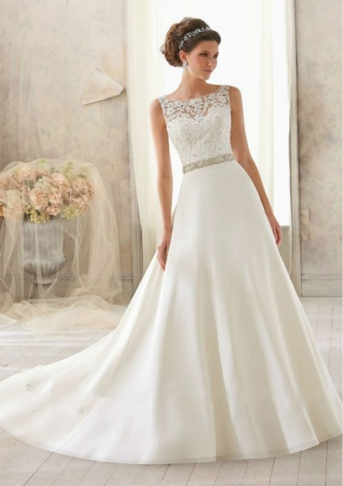 wedding dress with beading on top