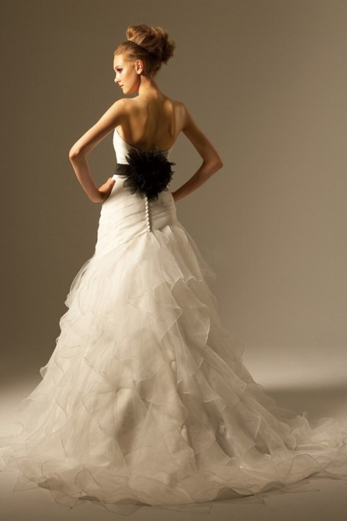 wedding dresses with black belt