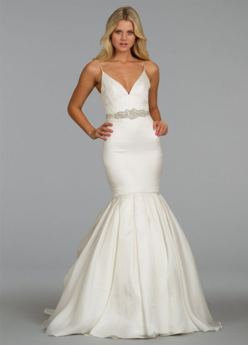 Alvina Valenta ivory sweetheart mermaid wedding dress with jeweled straps