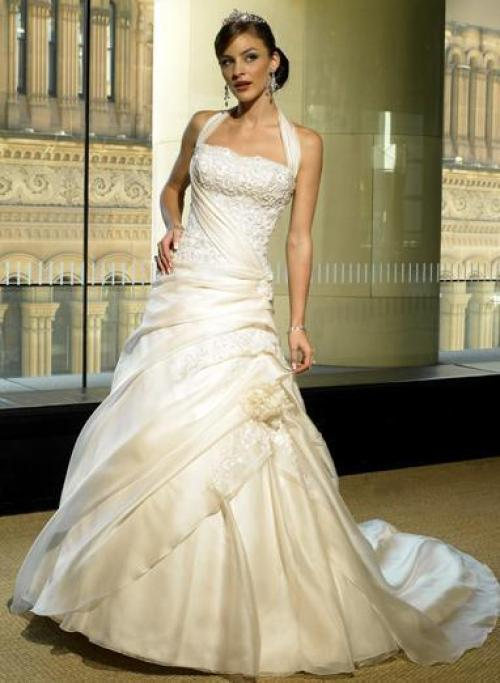 halter top lace wedding dress with chapel train