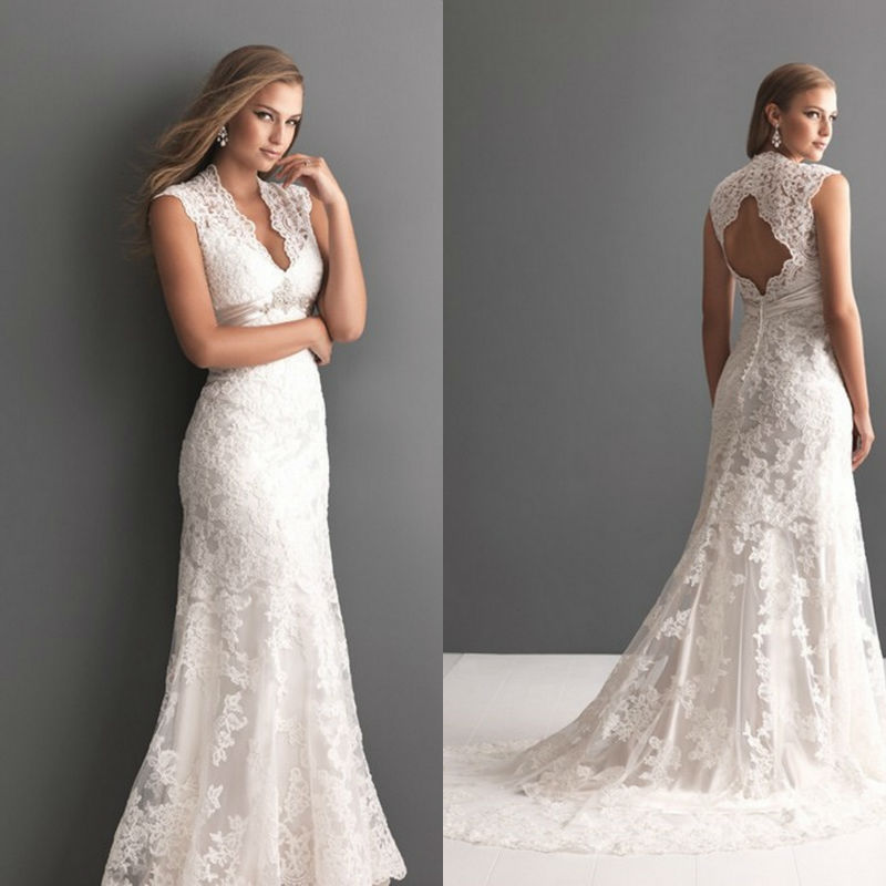 Keyhole Wedding Gowns: Sensual A-line Lace Keyhole Back Wedding Dress With V