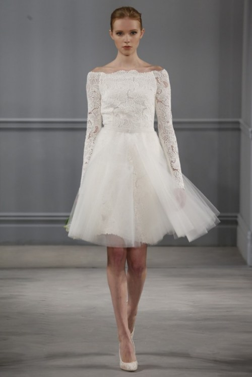 Monique Lhuillier short wedding dress with long sleeves