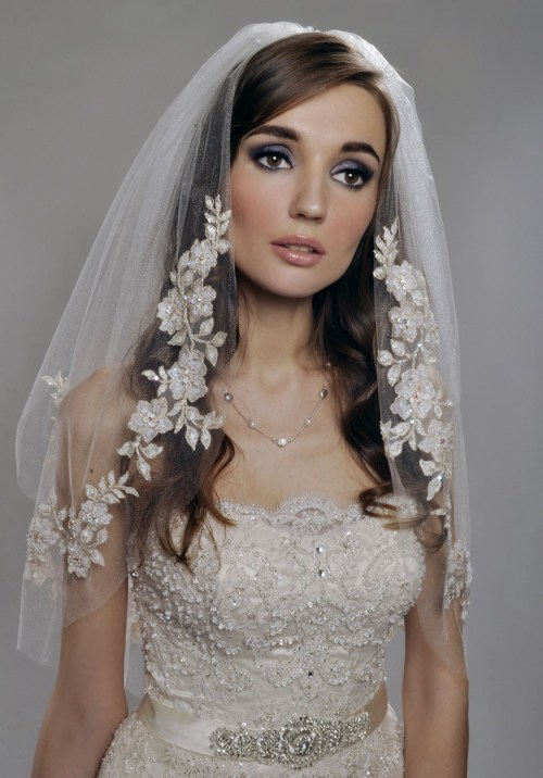 spanish lace ivory wedding veil