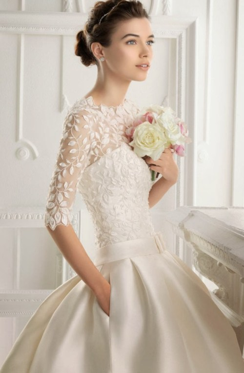 short ball gown wedding dress with 3/4 sleeves