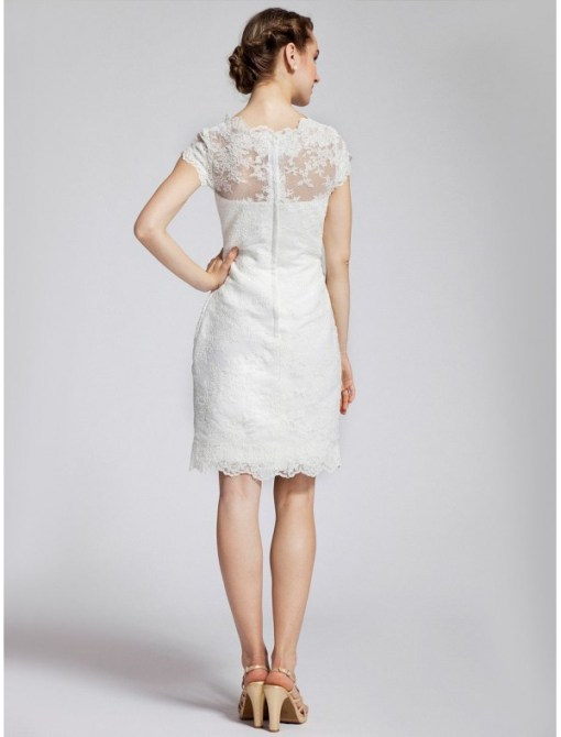 short vintage bateau neckline wedding dress with short sleeves