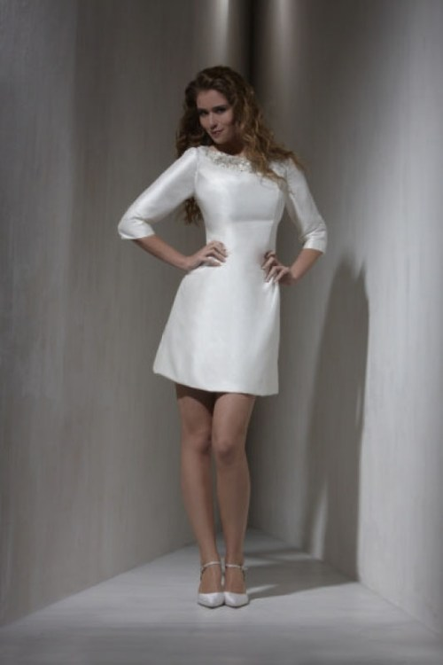 short white wedding dress with 3/4 sleeves