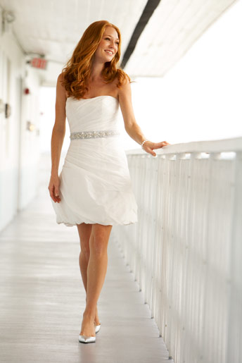 cheap short white beach wedding dress with sash