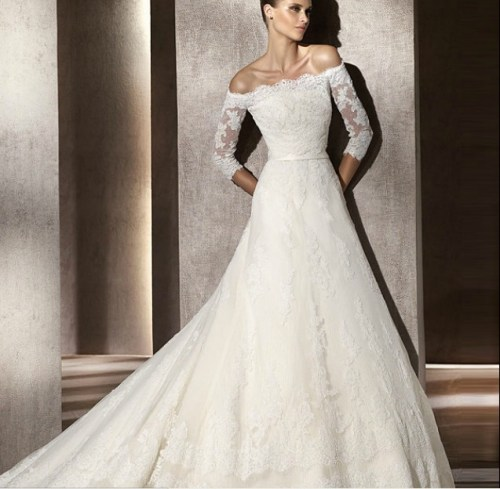 fall lace off the shoulder wedding dress with sleeves