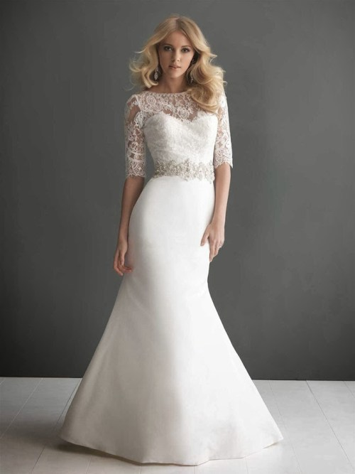 fall lace wedding dress with half sleeves