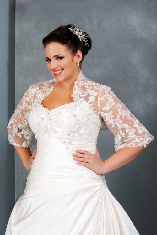 fall plus size wedding dress with three quarter sleeves