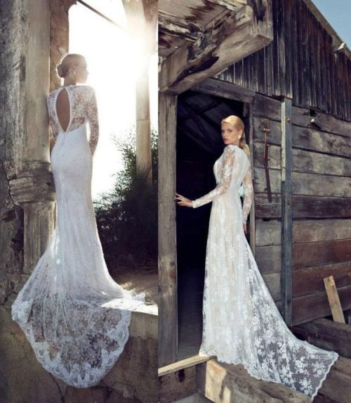 long fitted wedding dress with long lace sleeves