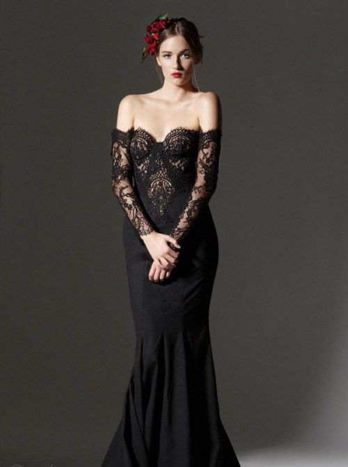 black lace long wedding dress with illusion long sleeves