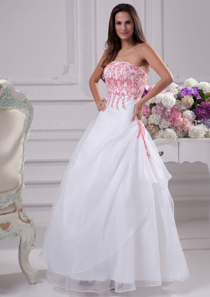 white wedding dress with pink accents  Sang Maestro