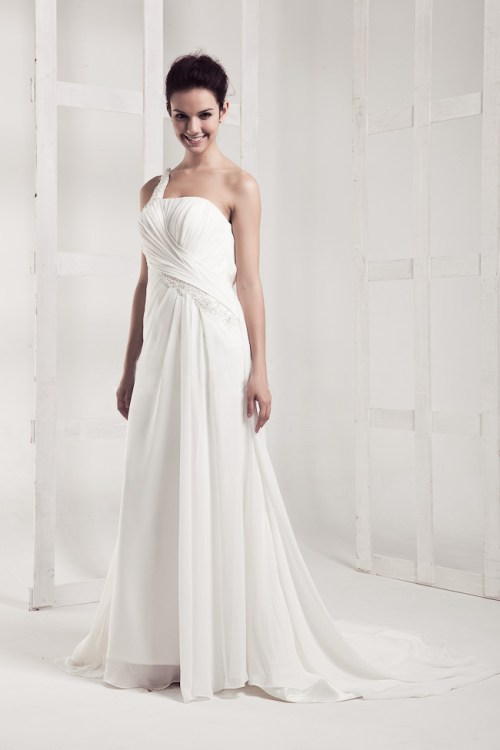 floor length chiffon a-line wedding dress