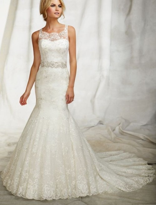 lace jewel neckline trumpet wedding dress with beaded waistband