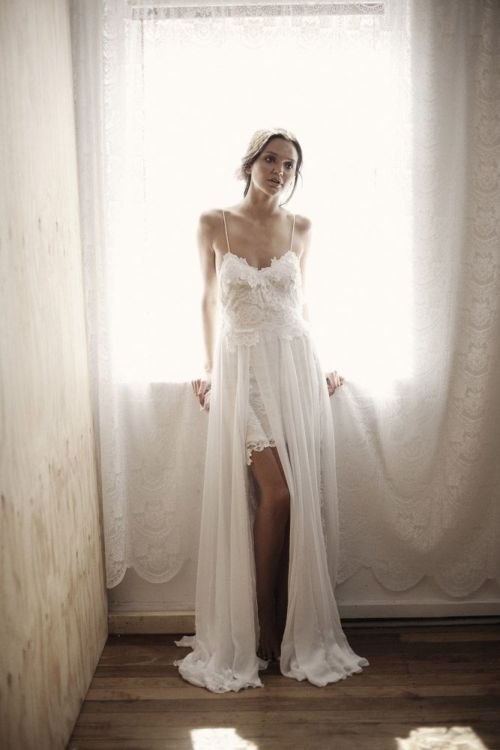 white boho beach wedding dress with spaghetti straps