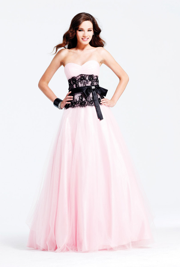 light pink and black prom dress with sash