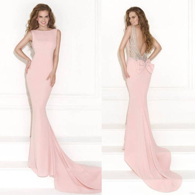 light pink mermaid prom dress with open back