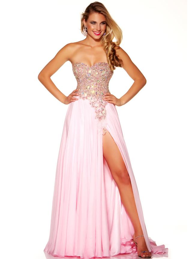 light pink prom dress with high slit