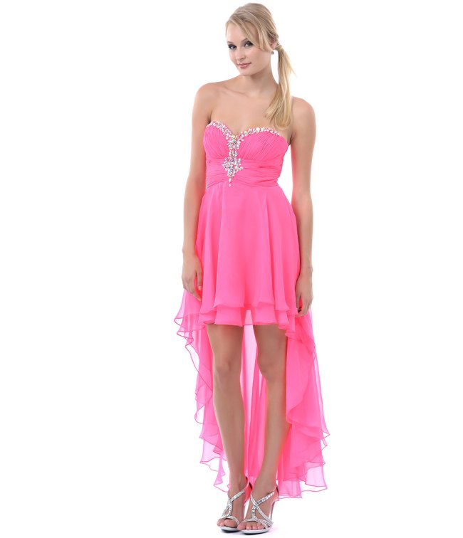 pink high low sweetheart prom dress with rhinestones