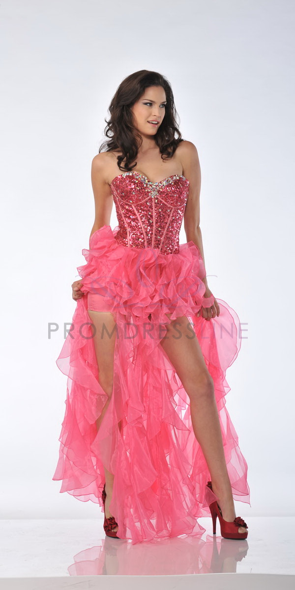 pink sparkly prom dress with high low design