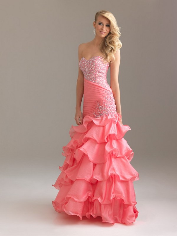 pink sparkly prom dress with ruffles