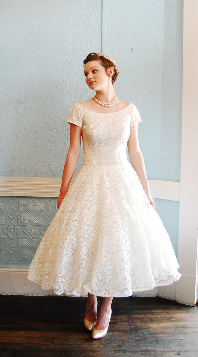 retro tea length wedding dress with short sleeves
