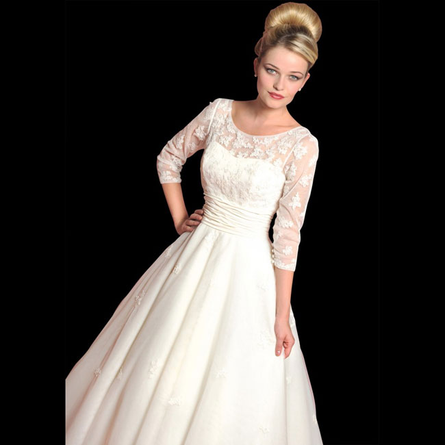 retro tea length wedding dress with three quarter sleeves