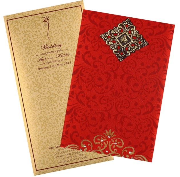 red and brown wedding cards