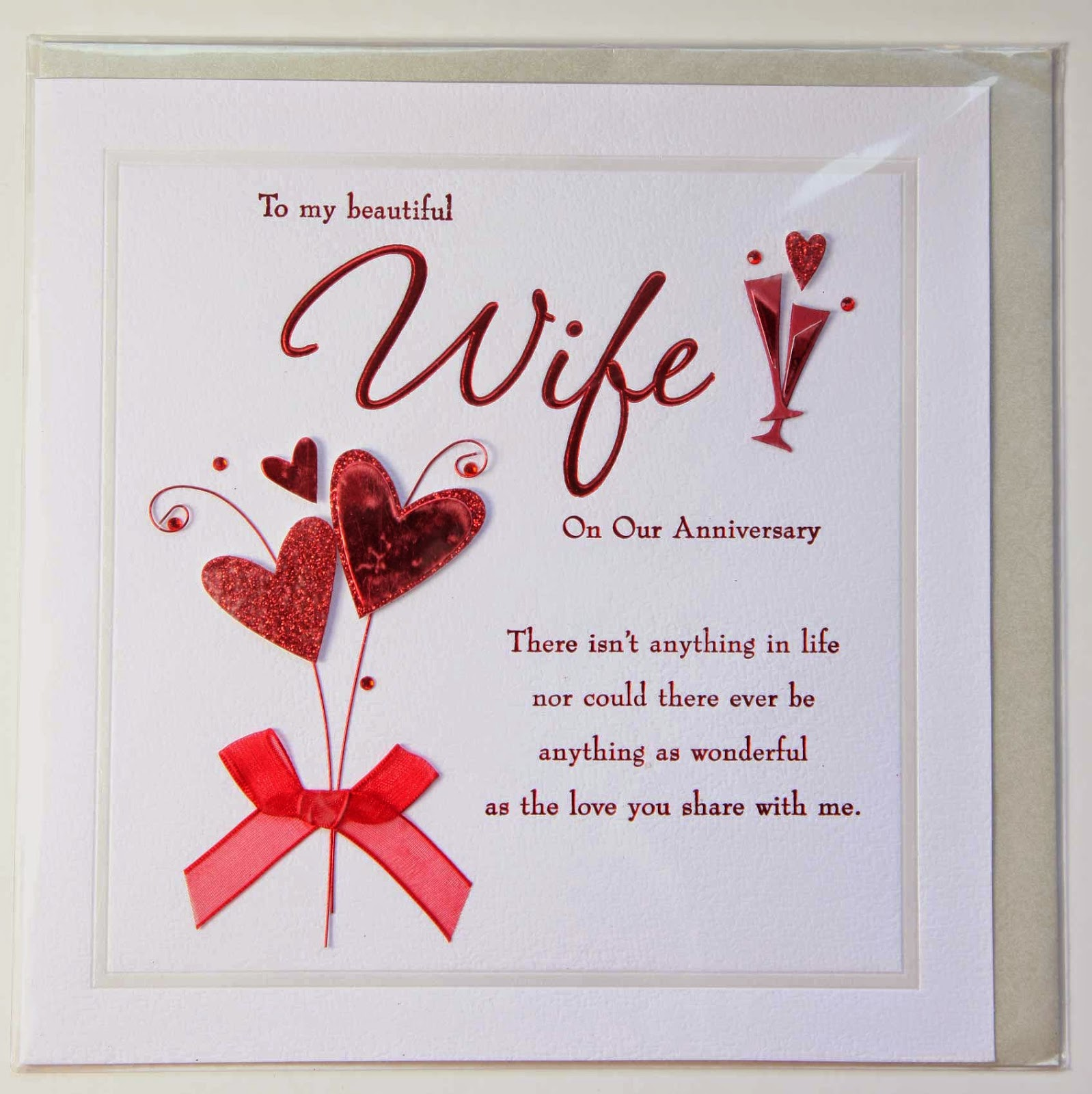 Wedding anniversary card design for wife with quote sang