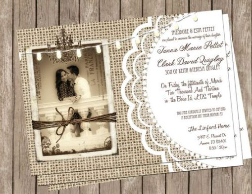 burlap and lace wedding invitations with photo