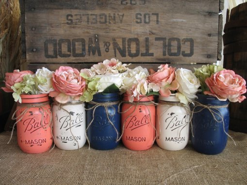navy blue and coral wedding decoration
