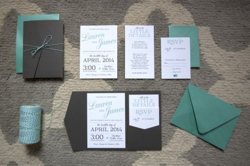tiffany blue and grey wedding invitation design
