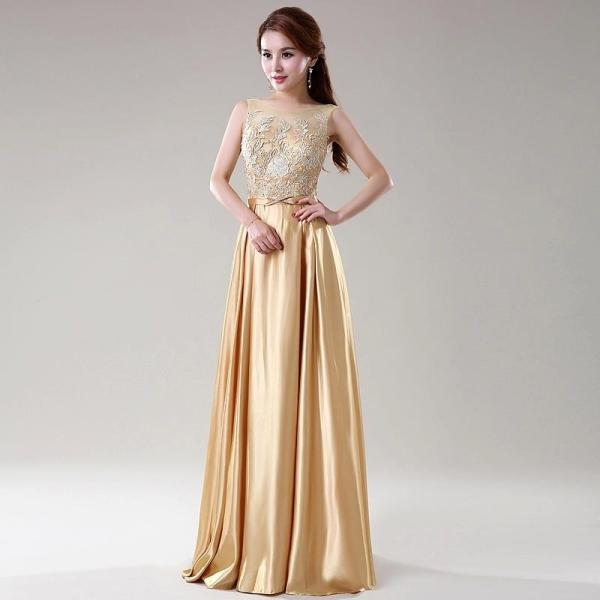 simple-gold-lace-bridesmaid-dress-with-floor-length