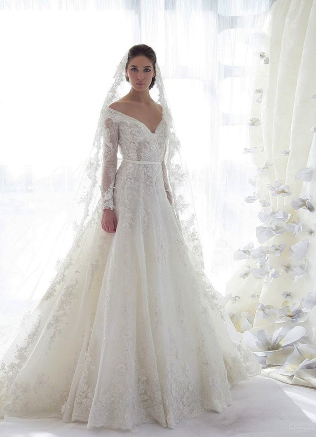 off the shoulder a-line wedding dress with sleeves