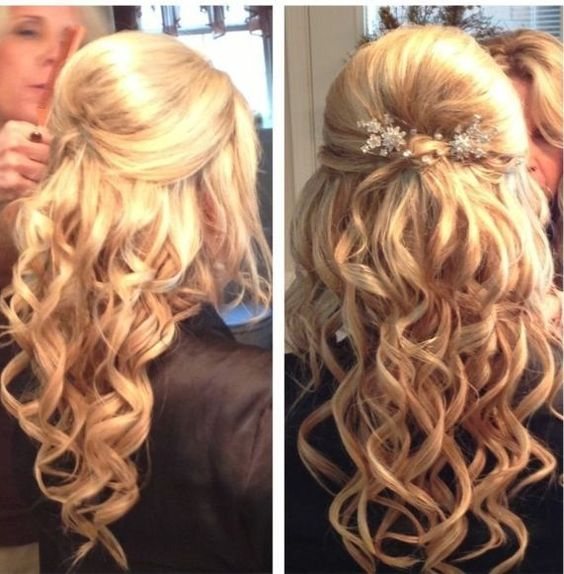 blonde prom hair half up half down with accessory