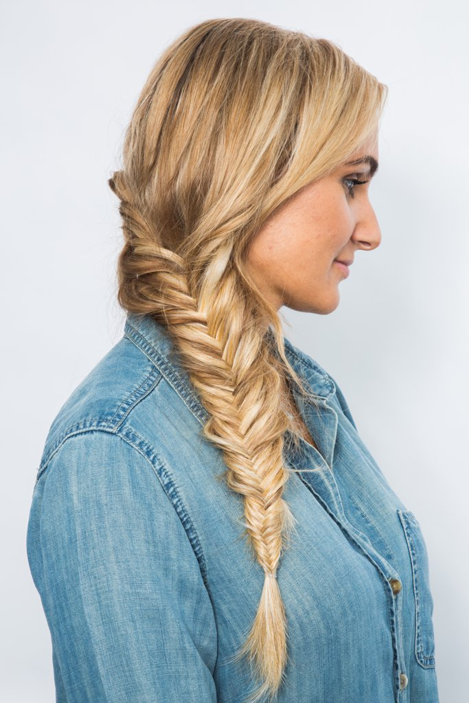 fishtail braid long prom hairstyle
