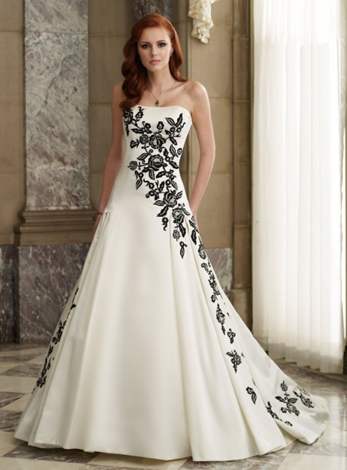 Sophisticated Black And White Wedding Dresses